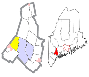 Minot, Maine - Image: Androscoggin County Maine Incorporated Areas Minot Highlighted