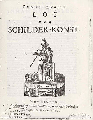 Philips Angel II - Title page of Lof der Schilder-Konst