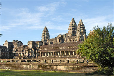 Angkor Wat, Cambodia, symmetry and elevation have often been utilised in the architectural expression of religious devotion or political power. - Architecture