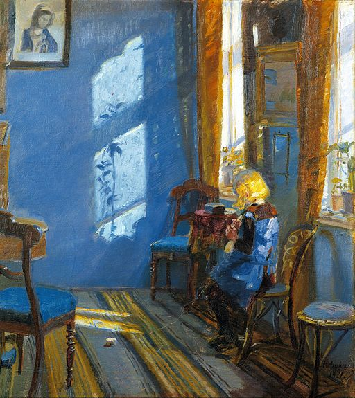 Anna Ancher - Sunlight in the blue room - Google Art Project