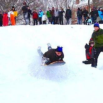 Anthony Monaco - Anthony Monaco sledding on the Tufts campus 2013