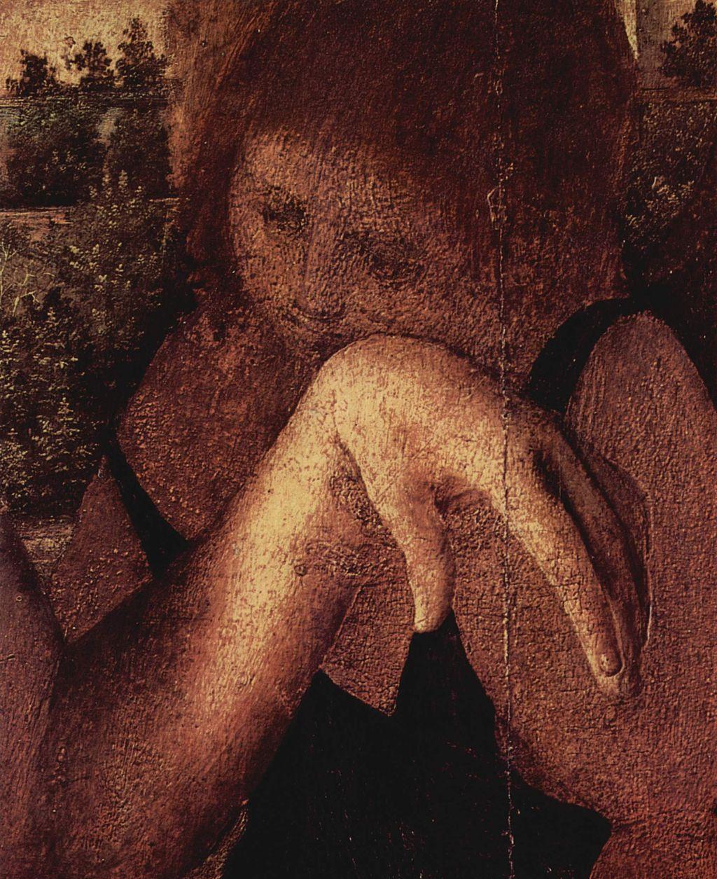 Antonello da Messina (1430–1479), Cristo morto sostenuto da tre angeli (particolare), 1475-1476 circa, olio su tavola di pioppo, 145×85 cm, Venezia, Museo Correr