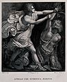 Apollo flaying Marsyas. Line engraving with etching by G. Vi Wellcome V0041711.jpg