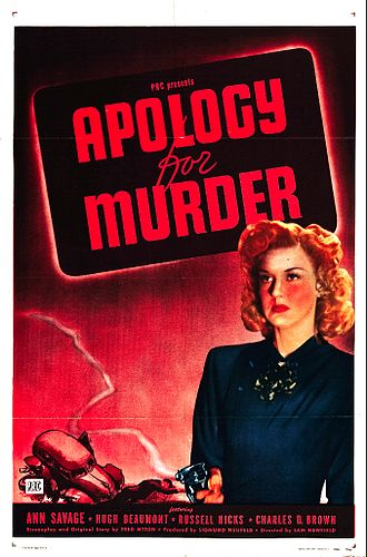 Apology for Murder - Theatrical release poster