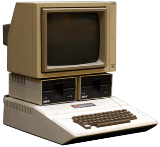 Apple II series - The 1977 Apple II, shown here with two Disk II floppy disk drives and a 1980s-era Apple Monitor II. The Apple II featured an integrated keyboard, sound, a plastic case, and eight internal expansion slots.