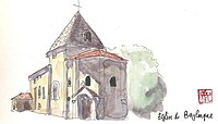 Aquarelle de l'église de Beylongue.jpg