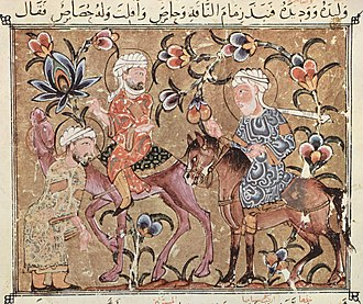 Al-Hariri of Basra - al-Harith helps Abu Zayd to retrieve his stolen camel. Illustration for the 27th maqamat, from a manuscript in the Bodleian Library, Oxford