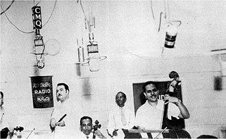 Cachao - Arcaño y sus Maravillas at Radio CMQ, c. 1945: Arcaño on flute, Orestes López on cello, Cachao on bass (right).