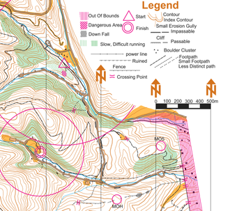 Orienteering map - Orienteering map (not to IOF standard) marked for amateur radio direction finding, with a triangle at Start, large and small concentric circles at Finish, and two of five control points (hidden radio beacons). Beacon control points are shown for post-competition analysis; ARDF competitors must find the beacons.