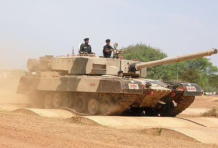 The Indian Arjun MBT's hydropneumatic suspension at work, while moving over a bump track. Arjun MBT bump track test.JPG