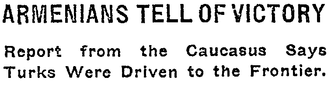 Battle of Sardarabad - New York Times article headlines from May 15 and June 29, 1918