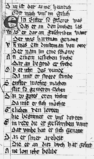Der arme Heinrich - Prologue of Poor Heinrich (Heidelberg, University Library)