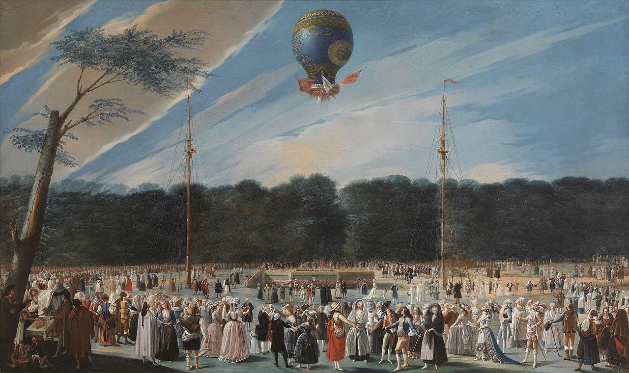 """Antonio Carnicero: """"Ascensión de un globo Montgolfier en Aranjuez"""" (1784)."""