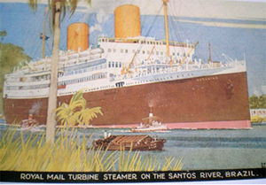 RMS Asturias (1925) - Painting by Kenneth Shoesmith of Asturias in Brazil in the later 1930s, after conversion to a steam turbine ship and with her funnels increased in height