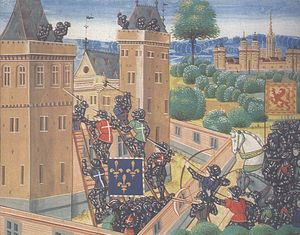 Invasions of the British Isles - A Franco-Scottish force attacks Wark, from an edition of Froissart's Chronicles