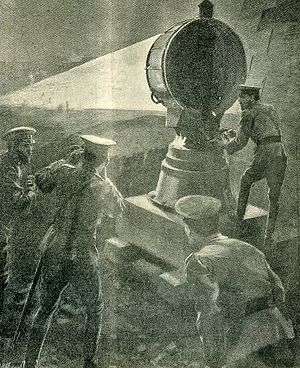Searchlight - Russian troops use a searchlight against a Japanese night attack during the Russo-Japanese War, 1904