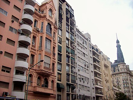 Balvanera, Buenos Aires, filled with picturesque Belgian and Dutch tenements. Avenida Callao al 500.jpg