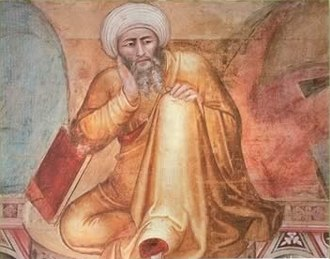 Omnipotence paradox - Detail depicting Averroes, who addressed the omnipotence paradox in the 12th century, from the 14th-century Triunfo de Santo Tomás by Andrea da Firenze (di Bonaiuto)