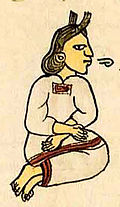 picture of an Aztec woman with a speech scroll coming out of her mouth, from the florentine codex