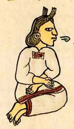 Nahuatl - Nahua woman from the Florentine Codex. The speech scroll indicates that she is speaking.