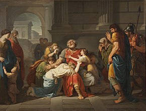 The Blind Oedipus Commending his Children to the Gods (1784) by Bénigne Gagneraux. In his Poetics, Aristotle uses the tragedy Oedipus Tyrannus by Sophocles as an example of how the perfect tragedy should be structured, with a generally good protagonist who starts the play prosperous, but loses everything through some hamartia (fault).[114] (Source: Wikimedia)