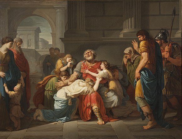 The Blind Oedipus Commending his Children to the Gods (1784) by Benigne Gagneraux. In his Poetics, Aristotle uses the tragedy Oedipus Tyrannus by Sophocles as an example of how the perfect tragedy should be structured, with a generally good protagonist who starts the play prosperous, but loses everything through some hamartia (fault). Benigne Gagneraux, The Blind Oedipus Commending his Children to the Gods.jpg