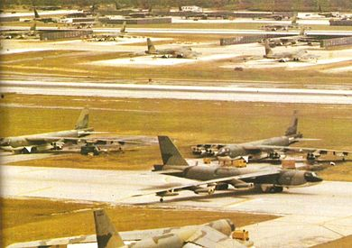 B-52 at Andersen Air Force Base, during Operation Linebacker II in the Vietnam War, 1972 B-52 Guam Linebacker II - Copia.jpg