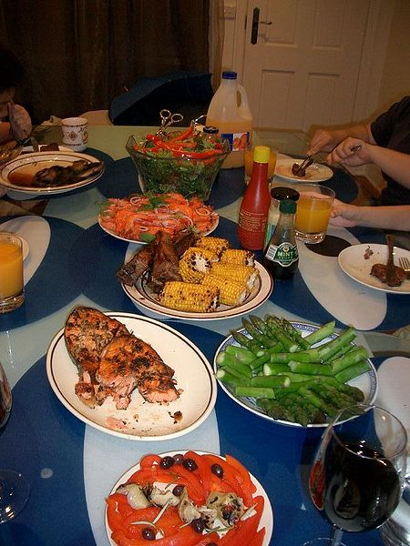 BBQ dinner, home-cooked food. From Things We Miss When Traveling