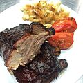 Baby Back Ribs glazed with @ssgastrogrub's sweet and spicy rum BBQ sauce, mac and cheese, and smoked tomatoes with garlic confit oil and tomato confit oil. (14715920733).jpg