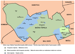 Map of the Bačka Topola municipality showing the location of Mićunovo