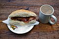 Bacon butty and mug of tea at Copsale Hall, Nuthurst, West Sussex, England.jpg
