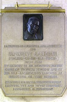 Plaque to commemorate Sir Andrew Balfour at the London School of Hygiene & Tropical Medicine