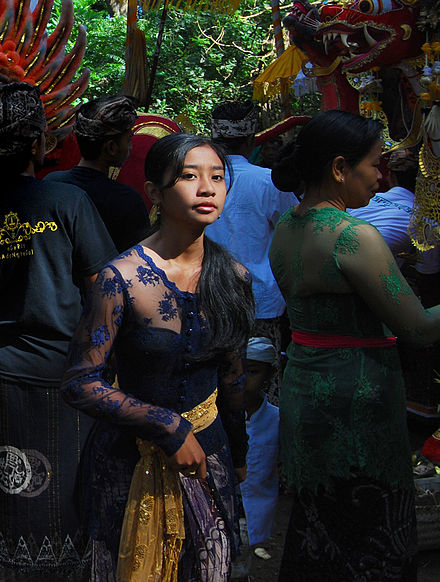 A Native Indonesian Balinese girl wearing kebaya during a traditional ceremony. Bali - The People (2685069056).jpg