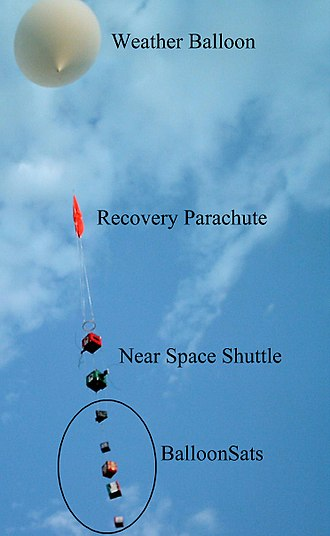High-altitude balloon - Image of five BalloonSats shortly after launch on an ARHAB flight.