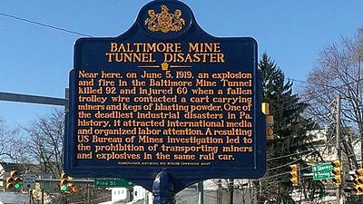 A historical marker of the 1919 Baltimore Colliery Disaster Baltimore Mine Tunnel Disaster marker.jpg