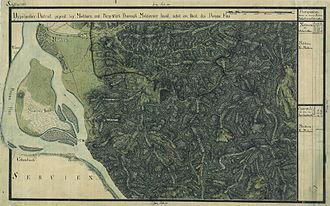 Moldova Nouă - Moldova Nouă (Neu-Moldova) and Moldova Veche (Moldova) on the Josephinian Land Survey, ca. 1770