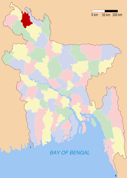 Location of Nilphamari in Bangladesh