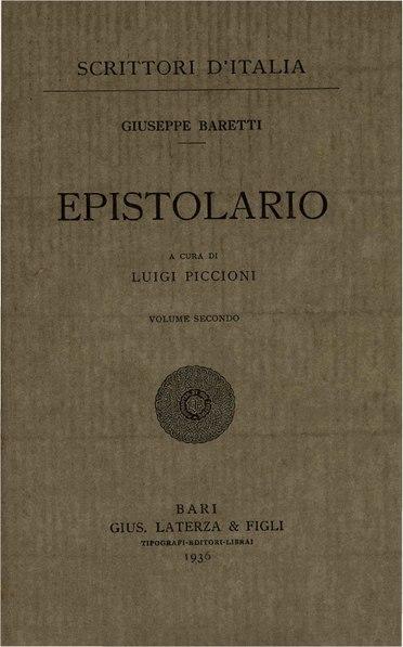 File:Baretti, Giuseppe – Epistolario, Vol. II, 1936 – BEIC 1747238.pdf