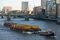 Barge on River Thames, London - Dec 2009.jpg