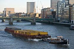 Barge on River Thames, London - Dec 2009.jpg
