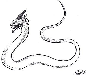 Desenho de um basilisco