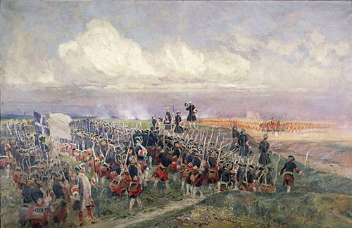The Battle of Fontenoy in 1745 was Cumberland's first battle as commander. Battle-of-Fontenoy.jpg