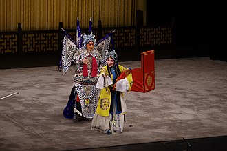 Lady Mi - Lady Mi addressing Zhao Yun before her suicide, from a Peking opera performance by Shanghai Jingju Theatre Company on May 3, 2015, in Tianchan Theatre, Shanghai, China.