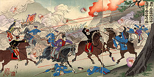 Battle of Yalu River (1904) - Picture of Our Valorous Military Repulsing the Russian Cossack Cavalry on the Bank of the Yalu River by Watanabe Nobukazu (1874–1944), March 1904