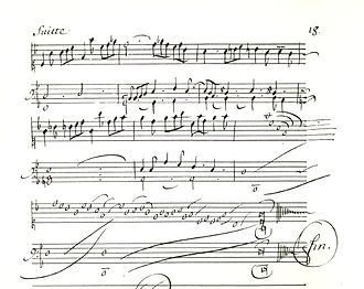 Louis Couperin - Fragment of a page from the Bauyn manuscript, showing the conclusion of the unmeasured Prélude in F major (Bauyn 12)