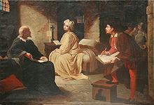 Beatrice Cenci in prigione. Quadro di Achille Leonardi, XIX secolo