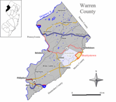 Map of Beattystown CDP in Warren County