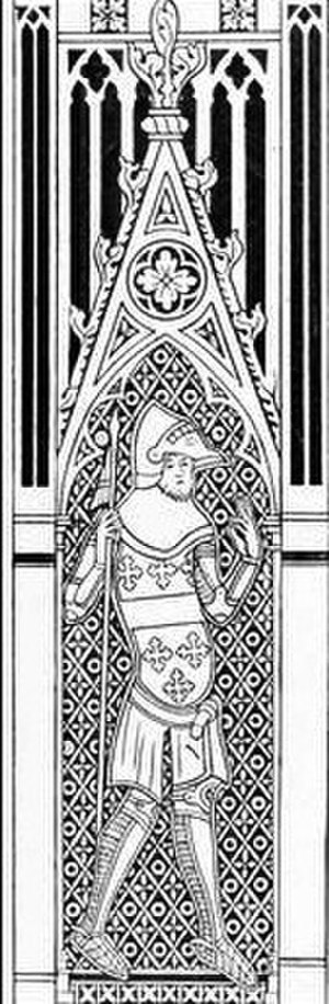 Thomas de Beauchamp, 11th Earl of Warwick - Thomas de Beauchamp, 11th Earl of Warwick depicted in 1347 as one of the 8 mourners attached to the monumental brass of Sir Hugh Hastings (d. 1347) at St Mary's Church, Elsing, Norfolk. He displays the arms of Beauchamp on his tunic
