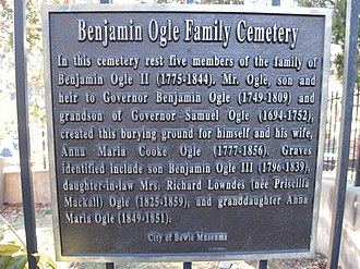Belair Mansion (Bowie, Maryland) - Benjamin Ogle Family Cemetery