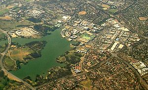 Belconnen, Australian Capital Territory - Aerial view of Belconnen Town Centre and Lake Ginninderra, from the west